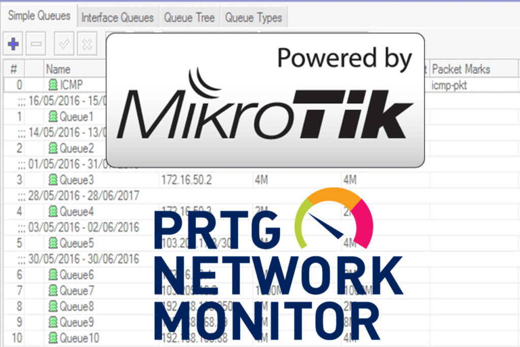 How to add in PRTG Mikrotik Static Queues for monitoring bandwidth